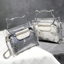 Bag Inclined shoulder bag Acrylic plastics Jelly bag Ruvanni Pink white grey brand new Fashion trend Small leisure time soft zipper no Solid color Lace