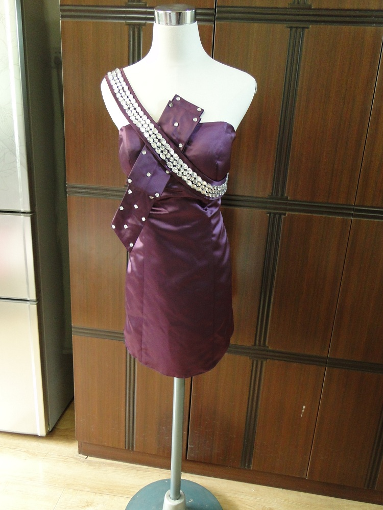 Dress / evening wear Wedding party performance L Purplish red zipper polyester five thousand three hundred and twenty-two