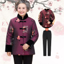 Middle aged and old women's wear Winter 2020 fashion Cotton easy singleton  Decor Over 60 years old Cardigan thickening stand collar routine routine
