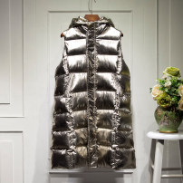 Vest Winter 2017 Silver Gold XL 2XL M L Medium length Hood Versatile Solid color zipper pocket Silk like cotton