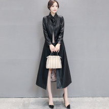 leather clothing Ouyang Danni Spring of 2018 M L XL 2XL 3XL 4XL 5XL Black and cotton red and cotton red grey black have more cash than can be accounted for Long sleeves Self cultivation commute stand collar other routine 6701- Sheepskin pocket