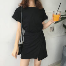 Dress Summer of 2018 black Average size Short skirt singleton  Short sleeve commute Crew neck High waist Solid color 18-24 years old Other / other Korean version Lace up stitching