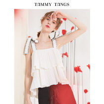 Vest sling Summer of 2018 white XSSML singleton  have cash less than that is registered in the accounts easy Sweet straps Solid color 18-24 years old T18XT14204 TAMMYTANGS Bandage Polyester 100% Pure e-commerce (online only)