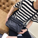 Men's bag The single shoulder bag PU XDLM black brand new leisure time leisure time zipper soft in no Zipper pocket, mobile phone bag, certificate bag Solid color Yes Single root youth Horizontal square canvas Color contrast Soft handle Three dimensional bag 10 inches One shoulder cross soft surface