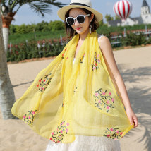 Scarf / silk scarf / Shawl Chiffon Spring and autumn, summer and winter female Scarves / scarves decorate Korean version rectangle Student youth middle age Plants and flowers Embroidery 90cm 180cm