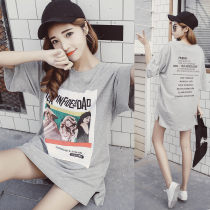 T-shirt grey 100% cotton Summer of 2018 Short sleeve Crew neck easy Medium length routine commute cotton 96% and above 18-24 years old Korean version classic Hand painted letters t631460 Printing stickers