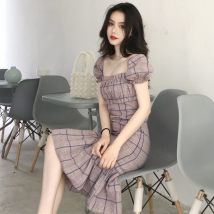 Dress Summer of 2018 Picture color S M Mid length dress singleton  Short sleeve commute square neck lattice Socket Ruffle Skirt other Others 18-24 years old Korean version Lotus leaf edge 01 other