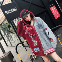 short coat Spring of 2018 One size fits all Plush one size no Plush presale No.22 gules Long sleeves Medium length routine singleton  easy Original design routine Hood zipper Cartoon animation 18-24 years old 51% (inclusive) - 70% (inclusive) Tassel pocket thread asymmetric stitching 3D sticker