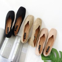 Low top shoes 35 36 37 38 39 40 Other / other Pink Black apricot Square head Thick heel Suede Shallow mouth Low heel (1-3cm) cloth Fall 2017 Trochanter Korean version Adhesive shoes Youth (18-40 years old) Solid color rubber Shallow mouth and thick heel PU daily 717-1 suede  Eight hundred