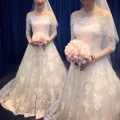 Wedding dress Winter 2017 Ground style 60cm tailing style 1.2m lengthening tailing Customized xxlxssmlxl Sweet Small tail Bandage Hotel Interior One shoulder Lace Three dimensional cutting 17X06 middle-waisted 18-25 years old Embroidery Sleeved shawl Beautiful rainbow clothes Large size