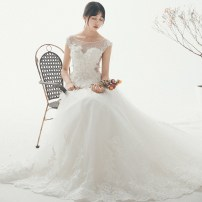 Wedding dress Fall 2017 Tailing to the ground SMLXL Korean version Long tail Bandage Hotel Interior One shoulder Netting Three dimensional cutting H170949 middle-waisted 18-25 years old Embroidery Sleeveless shawl Magnificent and elegant Large size Pure e-commerce (online only) Other 100%