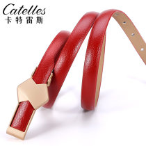 Belt / belt / chain Double skin leather White red coffee black female belt Sweet Single loop Youth, middle age Smooth button bow Glossy surface 1.4cm