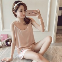 Pajamas / housewear set female Other / other Quality assurance, free freight insurance s ml XL Apricot rose light blue rose black rose white rose Iced silk camisole sexy pajamas summer Thin money V-neck Solid color shorts Socket youth 2 pieces rubber string silk Embroidery