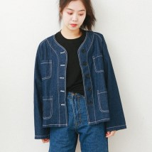 short coat Spring of 2018 S M L navy blue Long sleeves routine routine singleton  Straight cylinder street routine Crew neck Single breasted 18-24 years old 91% (inclusive) - 95% (inclusive) cotton cotton
