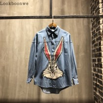 shirt Youth fashion Others 42 44 46 48 50 blue routine Long sleeves Wide angle collar easy Other leisure spring gu001 teenagers Cotton 100% like a breath of fresh air 2018 Animal design Denim washing cotton Embroidery More than 95%