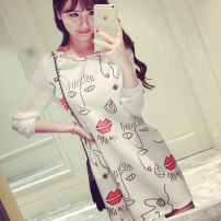 Dress Spring of 2018 Red lips on a white background l0919 checkerboard l0920 small black and white flower l0918 SMLXL Short skirt singleton  Long sleeves commute Crew neck Loose waist Abstract pattern Socket other other Others 25-29 years old Caidaifei Korean version Splicing L0919 knitting