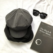 Hat cotton Light Khaki light grey black dark grey M(56-58cm) Octagon / newspaper / painter's hat Spring and summer female leisure time Middle aged youth 25-29 years old, 30-34 years old, 35-39 years old alone Shopping Octagonal cap