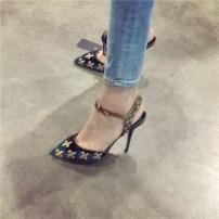 Low top shoes 34 35 36 37 38 39 Dayitu / daetu Black 7 cm dark green 7 cm black dark green Sharp point Fine heel Xishirong Shallow mouth Autumn of 2018