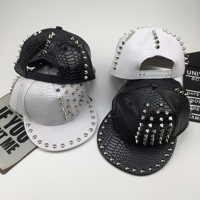 Hat Artificial leather White black Adjustable Hip hop hat Spring summer winter currency street Children lovers youth dome Wide eaves rivet stage