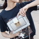 Bag The single shoulder bag PU Small square bag Other / other Pink White Silver Black brand new Japan and South Korea Small leisure time soft Buckle no Solid color Single root One shoulder cross nothing youth Horizontal square Color contrast polyester fiber mobile phone bag synthetic leather