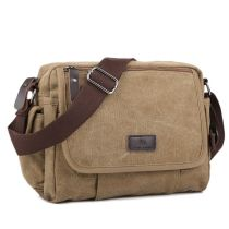 Men's bag The single shoulder bag canvas Manjianghong Black Khaki blue brown brand new leisure time Japan and South Korea Cover type soft Small yes Zipper pocket, mobile phone bag, certificate bag Solid color nothing Single root youth Horizontal square polyester fiber Sewing Soft handle set-in pocket