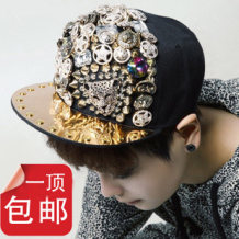 Hat canvas Leopard head and skull head Adjustable Hip hop hat street dome