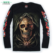 T-shirt Youth fashion black routine M, l (oversized) XL (oversized) Metal paradise Long sleeves Crew neck easy daily autumn A-014 Cotton 100% teenagers routine Youthful vigor Cotton wool 2017 human skeleton other cotton Skeleton devil No iron treatment Domestic famous brands More than 95%