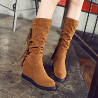 Boots 33 34 35 36 37 38 39 40 41 42 43 Xishirong Other / other Middle heel (3-5cm) Internal elevation Xishirong Middle cylinder Round head Artificial short plush Artificial short plush Autumn 2016 Sleeve Britain rubber Solid color Tassel boots Adhesive shoes Artificial short plush Slope heel Frosting