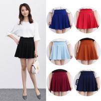 skirt Summer of 2018 S M L XL 2XL 3XL 4XL Short skirt commute High waist A-line skirt Solid color Type A 18-24 years old QZ-HJ0304-0006 other Bozimu