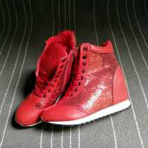 High shoes Internal elevation Off white red Round head 35 37 Other / other PU PU Middle heel (3-5cm) Autumn 2016