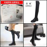 Boots 35 36 37 38 39 black PU Other / other Middle heel (3-5cm) Thick heel PU Short tube Round head Artificial short plush Artificial short plush Fall 2017 Sleeve Europe and America rubber Solid color Chelsea boots Youth (18-40 years old) winter rivet eight thousand one hundred and sixty-six