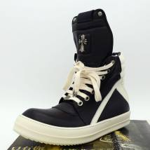 High shoes 38 men's 39 men's 34 35 36 37 38 39 40 41 42 43 44 45 46 47 Black and white color matching hardware RICK ROCK top layer leather Round head Frenulum Double skin (except cattle suede) Cattle hide (except cattle suede) top layer leather leisure time TPU daily winter Color matching increase