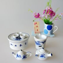 Ornaments ceramics Tea set Classical in Ming and Qing Dynasties A (blue) a (pink) B (random color) Tabletop ornaments Especially interesting lattice house Mini Tea Set Semi manual