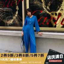 Casual pants Blue (ACT) S M L XL Fall 2017 Ninth pants Jumpsuit High waist commute routine 31% (inclusive) - 50% (inclusive) kookastyle Korean version