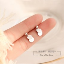 Ear Studs Silver ornaments 40-49.99 yuan Xiangnan 925 silver mini disc (2 pieces) pay attention to baby size before shooting, don't imagine out of thin air brand new Japan and South Korea female goods in stock Fresh out of the oven C-600 925 Silver