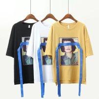 T-shirt Ginger black white XL 2XL 3XL 4XL 5XL Summer of 2018 Short sleeve Crew neck easy Regular commute cotton 71% (inclusive) - 85% (inclusive)