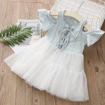 Dress 100% другие женщина Элемент оболочки 90cm 100cm 110cm 120cm 130cm 140cm белое платье Летний сезон Корейская версия qz4755 Класс B