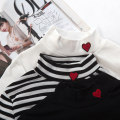 T-shirt Stripe Black White Average size Fall 2017 Long sleeves High collar Self cultivation Regular routine Sweet cotton 18-24 years old college