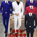 man 's suit Fashion City Bright blue white red purple gray blue black Others routine Polyester 70% viscose 30% Self cultivation A single breasted button Other leisure Back middle slit youth Long sleeves autumn routine Business Casual Casual clothes Flat lapel Straight hem Solid color Brocade cotton