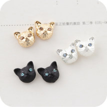 Ear Studs Alloy / silver / gold RMB 1.00-9.99 Other / other Gold Silver Black brand new Japan and South Korea female goods in stock Fresh out of the oven Alloy inlaid artificial gem / semi gem Bear / pig / animal OE0417