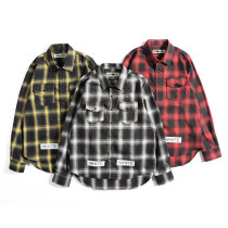 shirt Youth fashion Others XXL M L XL Yellow red black routine Long sleeves other easy Other leisure spring youth American leisure lattice cotton printing