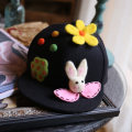 Hat Wool Light grey black M(56-58cm) Hip hop hat Spring autumn winter currency street Middle aged youth dome Wide eaves Cartoon Travel Flat eaves