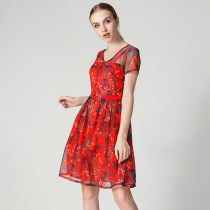 Dress Summer of 2018 Red blue XS S M L XL 2XL 3XL 4XL Middle-skirt singleton  Short sleeve V-neck High waist Decor 25-29 years old 9 Charms