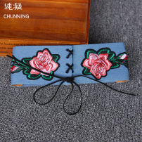 Belt / belt / chain Pu (artificial leather) wathet female Waistband Versatile Single loop Middle aged youth Leather decoration alloy weave