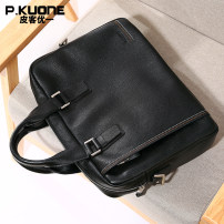 Men's bag Shoulder Bags Cowhide P. Kuone/Pi Ke Youyi Premium Black brand new Business/OL Zipper pocket mobile phone bag ID bag computer pocket zipper Commerce In soft Pure color Yes Single No Cross section square youth P630991 Polyester Handling handle Suture Digging bags Shoulder Messenger 13 inches