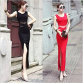 Dress Fall 2017 Red and black S M L XL longuette other Sleeveless commute Crew neck High waist Solid color Socket Irregular skirt other straps Type X
