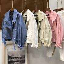 short coat Autumn of 2018 Average size Haze blue pink white red purple Khaki Long sleeves have cash less than that is registered in the accounts easy
