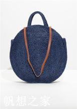 Bag handbag grass Woven bag Other / other Navy Blue large