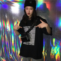 T-shirt black M L Spring of 2018 Short sleeve Crew neck easy Regular routine street Chloroprene 30% and below 18-24 years old Geometric pattern Other / other printing