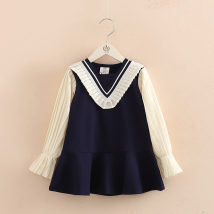 Dress blue Shell element female 100cm 110cm 120cm 130cm 140cm 150cm Other 100% spring and autumn lady Solid color qz4553 Class B